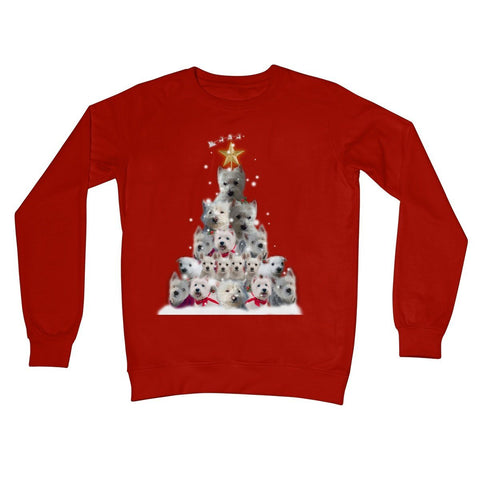 Image of Westie Christmas Tree Crew Neck Sweatshirt Apparel kite.ly S Fire Red