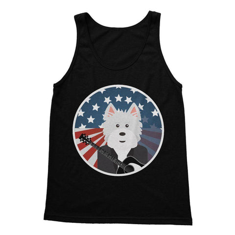 Image of American Westie With a Guitar Softstyle Tank Top Apparel kite.ly S Black