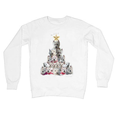 Image of Westie Christmas Tree Crew Neck Sweatshirt Apparel kite.ly S Arctic White