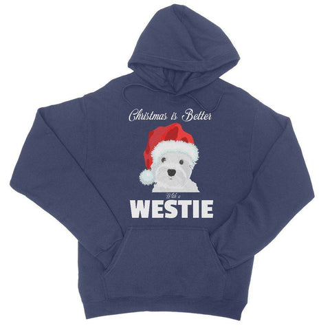 Image of Christmas is better with a Westie College Hoodie Apparel kite.ly S New French Navy