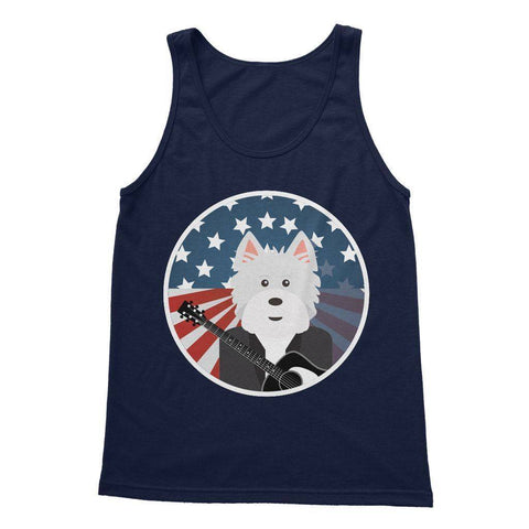 Image of American Westie With a Guitar Softstyle Tank Top Apparel kite.ly S Navy