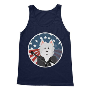 American Westie With a Guitar Softstyle Tank Top Apparel kite.ly S Navy