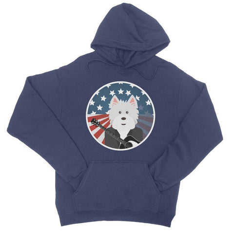 Image of American Westie With a Guitar College Hoodie Apparel kite.ly S New French Navy
