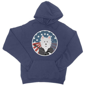 American Westie With a Guitar College Hoodie Apparel kite.ly S New French Navy