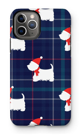 Image of Blue Tartan Westie in a Hat and Scarf Phone Case Phone & Tablet Cases kite.ly iPhone 11 Pro Tough Gloss