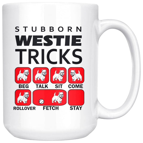 Image of Stubborn Westie Tricks Mug Red Drinkware teelaunch 15oz Mug