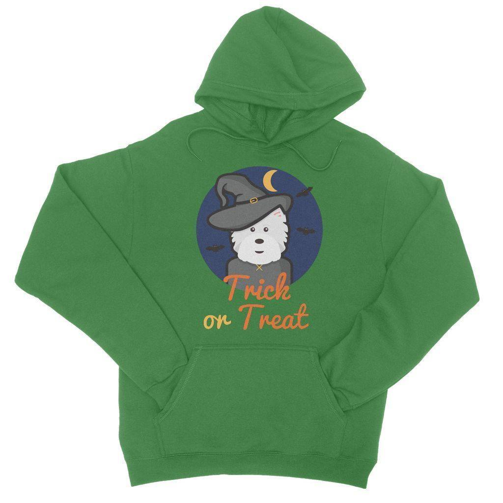 Trick or Treat Westie Witch College Hoodie
