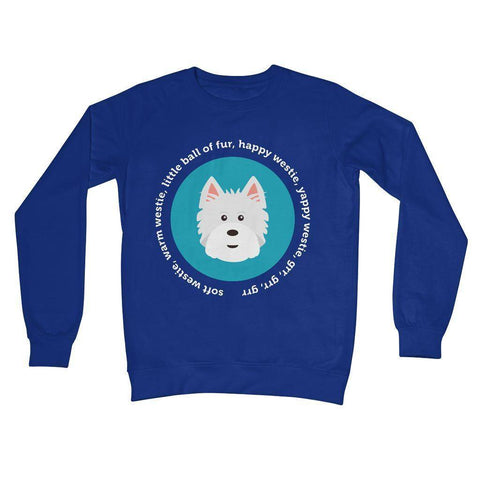 Image of Happy Westie - Big Bang Theory Crew Neck Sweatshirt Apparel kite.ly S Royal Blue