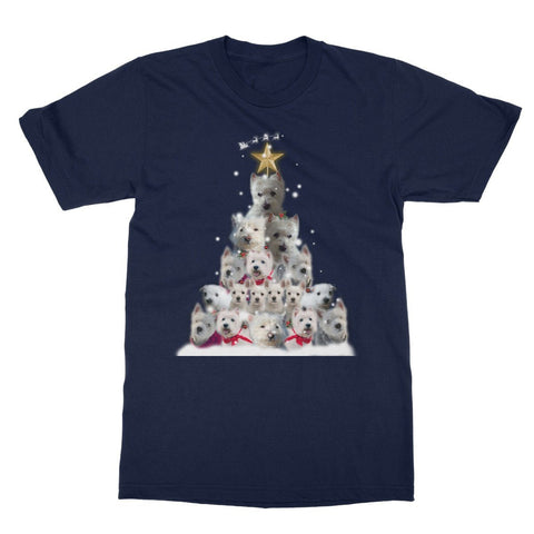 Image of Westie Christmas Tree Softstyle T-shirt Apparel kite.ly S Navy