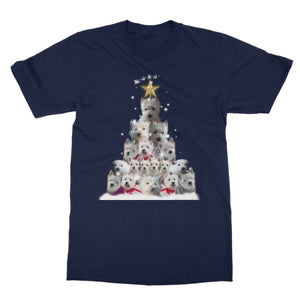 Westie Christmas Tree Softstyle T-shirt Apparel kite.ly S Navy