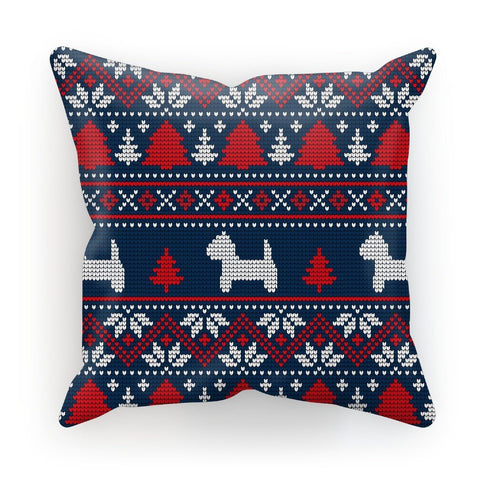 "Image of Blue Westie Christmas Cushion Homeware kite.ly Linen 18""x18"""