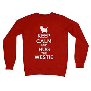 Keep Calm and Hug The Westie Crew Neck Sweatshirt Apparel kite.ly S Fire Red
