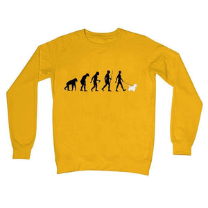 The Evolution Of Man And Westie Crew Neck Sweatshirt Apparel kite.ly S Gold