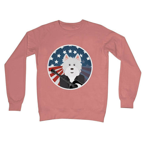 American Westie With a Guitar Crew Neck Sweatshirt Apparel kite.ly S Dusty Pink