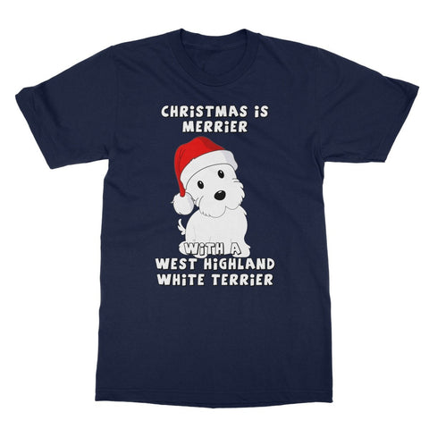 Christmas is Merrier with a West Highland White Terrier Softstyle T-shirt Apparel kite.ly S Navy