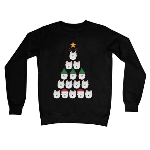 Westie Face Christmas Tree Crew Neck Sweatshirt Apparel kite.ly S Jet Black