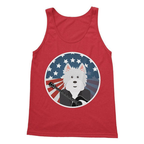 Image of American Westie With a Guitar Softstyle Tank Top Apparel kite.ly S Red