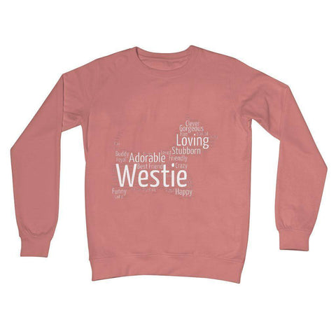 Image of Westie Word Cloud Crew Neck Sweatshirt Apparel kite.ly S Dusty Pink