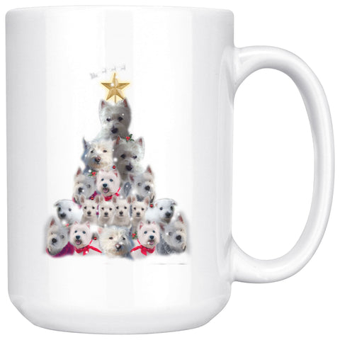 Image of Christmas Tree Of Westies Mug - Xmas West Highland Terrier Coffee Drinkware teelaunch 15oz Mug