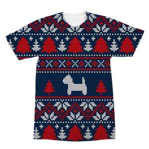 Blue Westie Christmas Sublimation T-Shirt Apparel kite.ly S