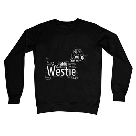 Image of Westie Word Cloud Crew Neck Sweatshirt Apparel kite.ly S Jet Black