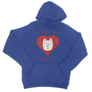 I Love My Westie Heart College Hoodie Apparel kite.ly S Royal Blue