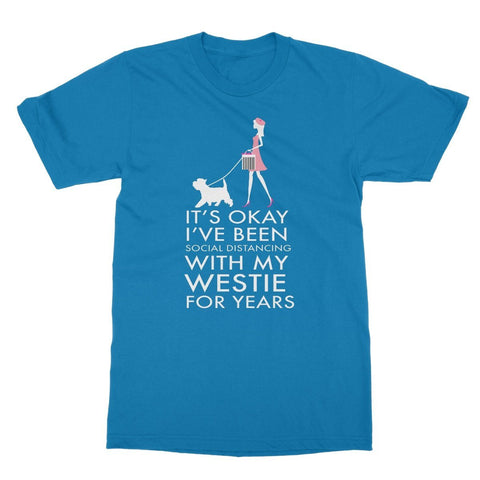 Social Distancing Westie Softstyle T-Shirt Apparel kite.ly S Sapphire
