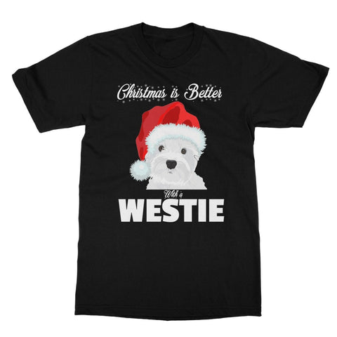 Image of Christmas is better with a Westie Softstyle T-shirt Apparel kite.ly S Black
