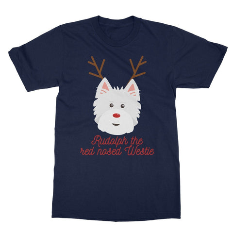 Rudolph the Red nosed Westie Softstyle T-shirt Apparel kite.ly S Navy