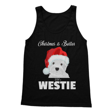 Image of Christmas is better with a Westie Softstyle Tank Top Apparel kite.ly S Black