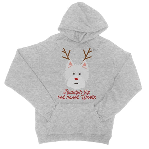 Image of Rudolph the Red nosed Westie College Hoodie Apparel kite.ly S Heather Grey