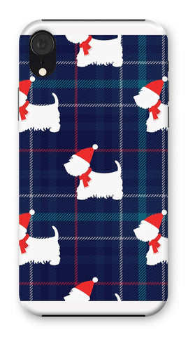 Blue Tartan Westie in a Hat and Scarf Phone Case Phone & Tablet Cases kite.ly iPhone XR Snap Gloss