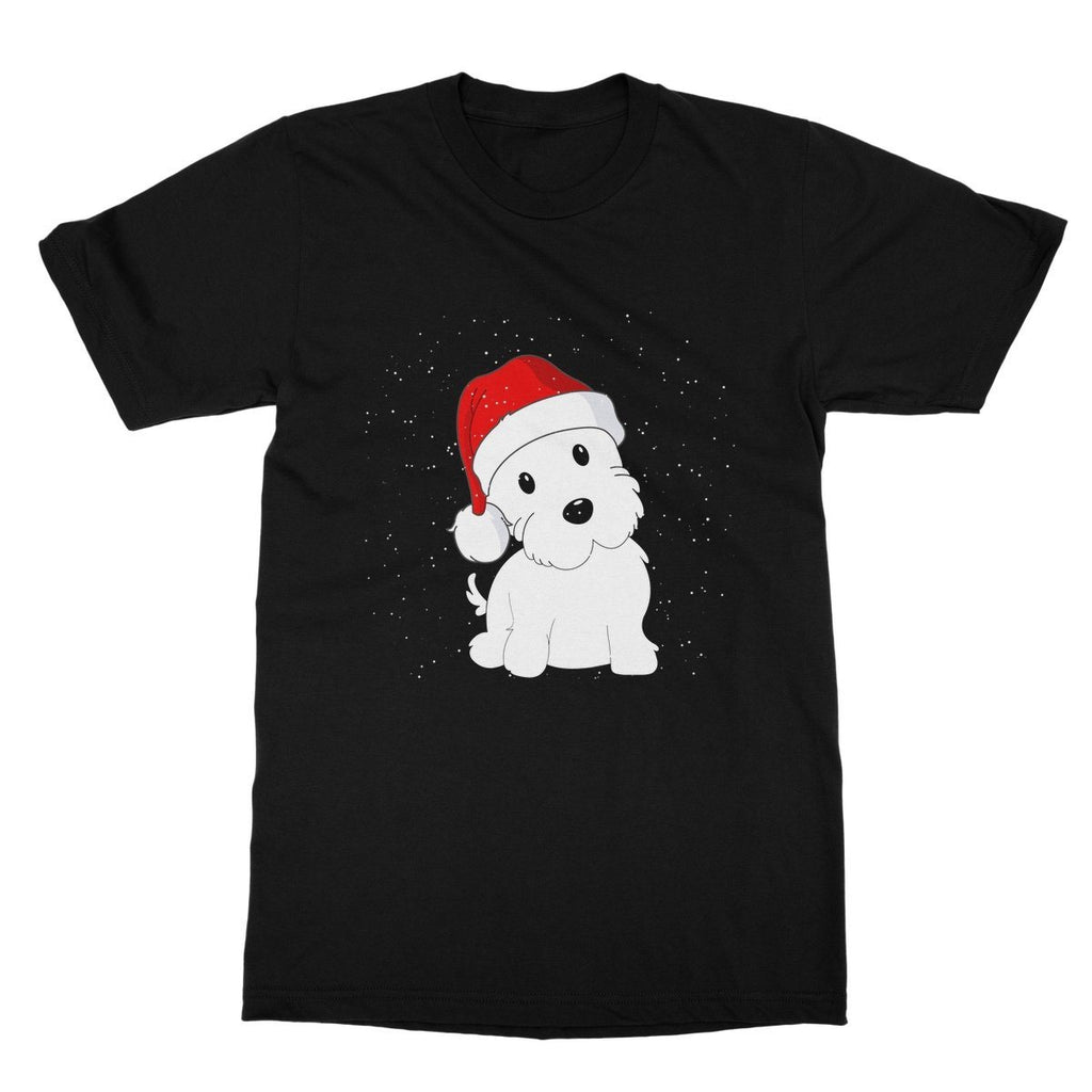 Westie in a Santa hat Softstyle T-shirt Apparel kite.ly S Black