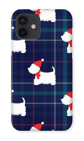 Image of Blue Tartan Westie in a Hat and Scarf Phone Case Phone & Tablet Cases kite.ly iPhone 12 Snap Gloss