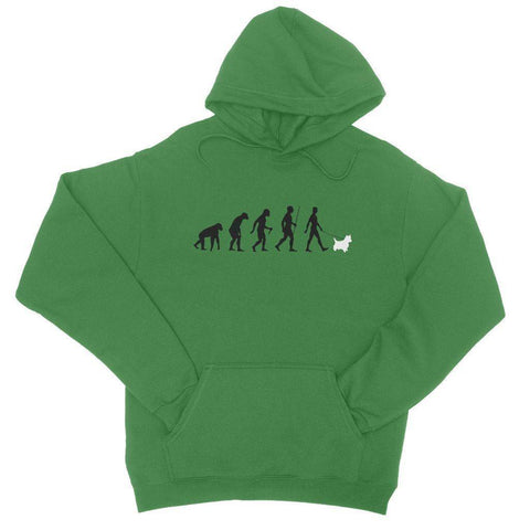 The Evolution Of Man And Westie College Hoodie