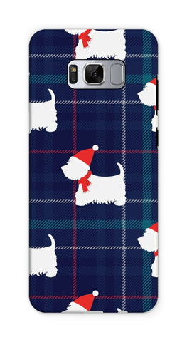 Image of Blue Tartan Westie in a Hat and Scarf Phone Case Phone & Tablet Cases kite.ly Galaxy S8 Tough Gloss