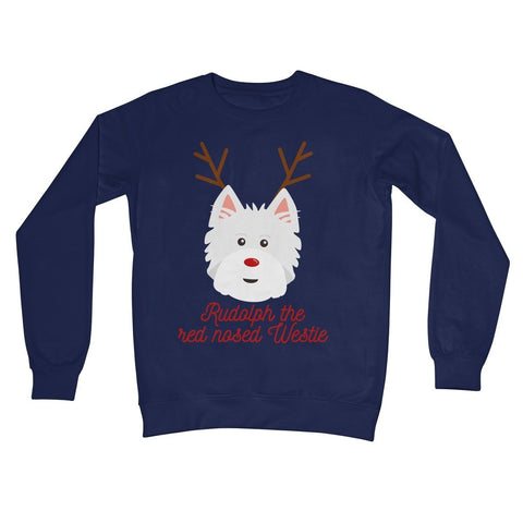 Image of Rudolph the Red nosed Westie Crew Neck Sweatshirt Apparel kite.ly S New French Navy