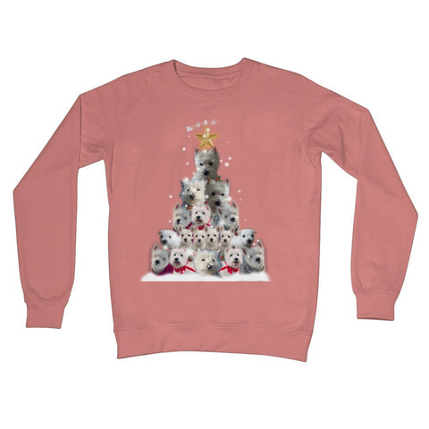 Image of Westie Christmas Tree Crew Neck Sweatshirt Apparel kite.ly S Dusty Pink
