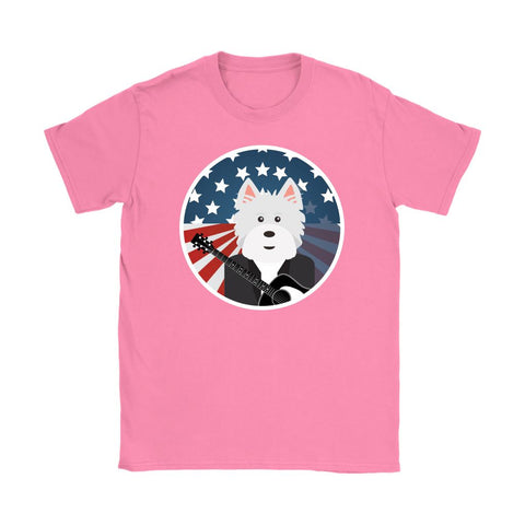 Image of American Westie With a Guitar Softstyle T-shirt T-shirt teelaunch Gildan Womens T-Shirt Azalea S