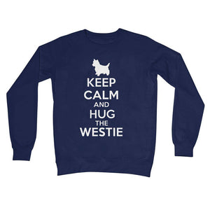 Keep Calm and Hug The Westie Crew Neck Sweatshirt Apparel kite.ly S New French Navy