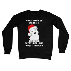 Christmas is Merrier with a West Highland White Terrier Crew Neck Sweatshirt Apparel kite.ly S Jet Black