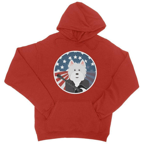 Image of American Westie With a Guitar College Hoodie Apparel kite.ly S Fire Red