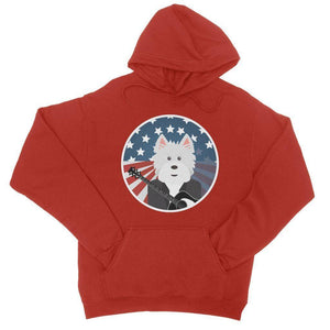 American Westie With a Guitar College Hoodie Apparel kite.ly S Fire Red