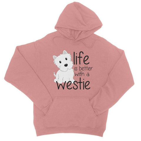 Life is Better With a Westie College Hoodie Apparel kite.ly S Dusty Pink