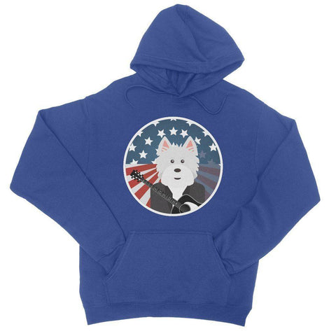 Image of American Westie With a Guitar College Hoodie Apparel kite.ly S Royal Blue