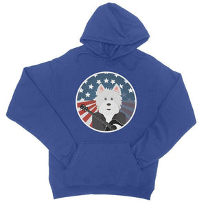 American Westie With a Guitar College Hoodie Apparel kite.ly S Royal Blue