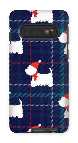 Image of Blue Tartan Westie in a Hat and Scarf Phone Case Phone & Tablet Cases kite.ly Galaxy S10 Tough Gloss