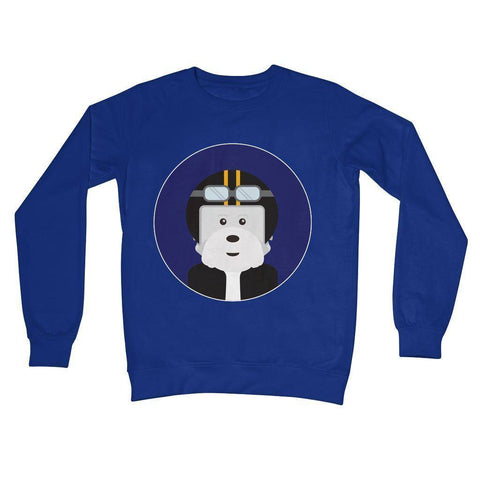 Westie Biker Crew Neck Sweatshirt Apparel kite.ly S Royal Blue