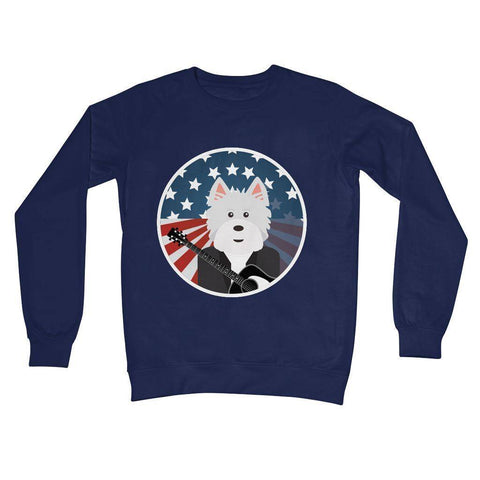American Westie With a Guitar Crew Neck Sweatshirt Apparel kite.ly S New French Navy