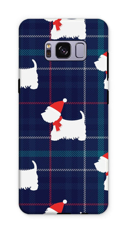 Image of Blue Tartan Westie in a Hat and Scarf Phone Case Phone & Tablet Cases kite.ly Galaxy S8 Plus Tough Gloss